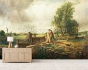 A Boat Passing a Lock (oil on canvas) mural wallpaper living room preview