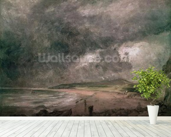Weymouth Bay with Approaching Storm (oil on canvas) wall mural room setting
