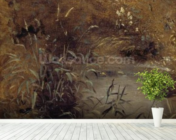 Rushes by a Pool, c.1821 (oil on paper on board) mural wallpaper room setting