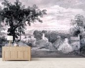 The Entrance to the Village of Edensor The Entrance to the Village of Edensor, 1801 (pencil and sepia wash) wallpaper mural living room preview