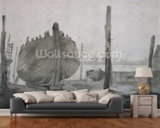 A River Scene with Vessel at Sunset mural wallpaper