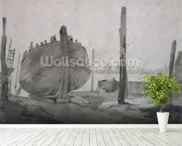A River Scene with Vessel at Sunset mural wallpaper room setting