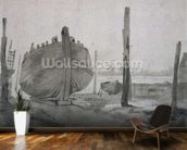 A River Scene with Vessel at Sunset mural wallpaper kitchen preview