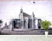 East Bergholt Church: the exterior from the South-west (drawing) wall mural in-room view