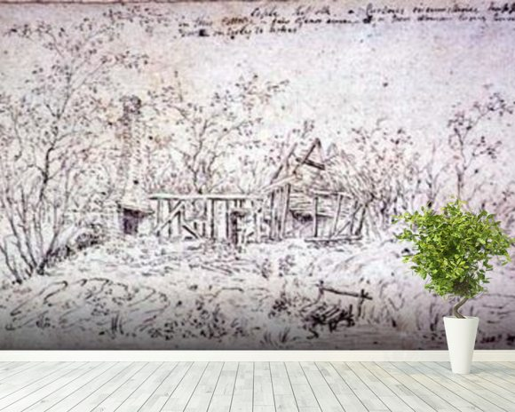 Cottage at East Bergholt wall mural room setting