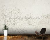 Landscape: a stream running between trees (drawing) wall mural kitchen preview