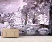 Bridge with Trees and Buildings, at Haddon mural wallpaper living room preview