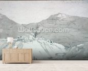 A Lead Mine at the Foot of Mam Tor (watercolour) mural wallpaper living room preview