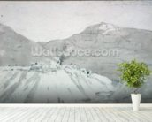 A Lead Mine at the Foot of Mam Tor (watercolour) mural wallpaper in-room view