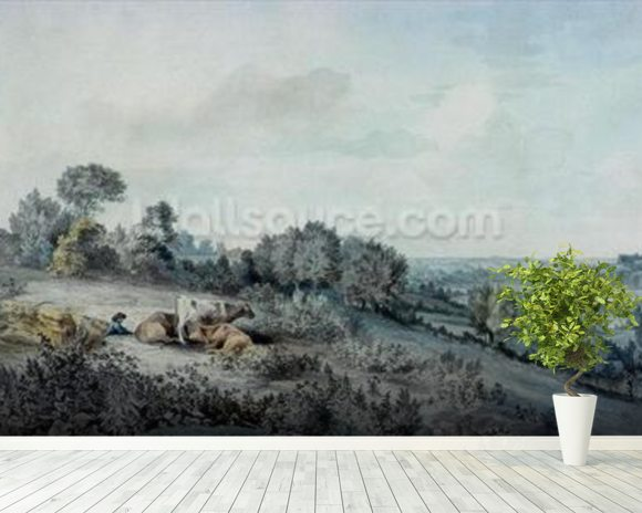 The Valley of the Stour, looking towards East Bergholt, 1880 (pencil, pen and ink and watercolour on paper) mural wallpaper room setting