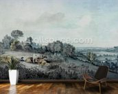 The Valley of the Stour, looking towards East Bergholt, 1880 (pencil, pen and ink and watercolour on paper) mural wallpaper kitchen preview