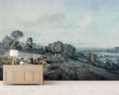 The Valley of the Stour, looking towards East Bergholt, 1880 (pencil, pen and ink and watercolour on paper) mural wallpaper living room preview