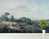 The Valley of the Stour, looking towards East Bergholt, 1880 (pencil, pen and ink and watercolour on paper) mural wallpaper in-room view