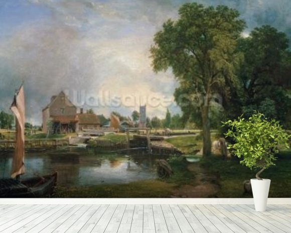 Dedham Lock and Mill, 1820 (oil on canvas) wallpaper mural room setting