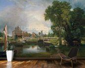 Dedham Lock and Mill, 1820 (oil on canvas) wallpaper mural kitchen preview