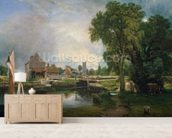 Dedham Lock and Mill, 1820 (oil on canvas) wallpaper mural living room preview