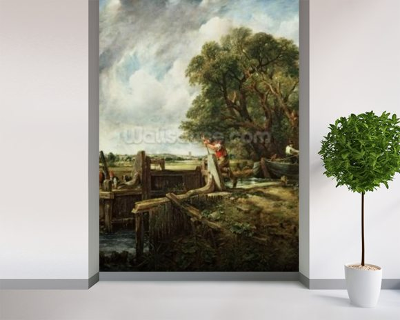 The Lock, 1824 (oil on canvas) wallpaper mural room setting