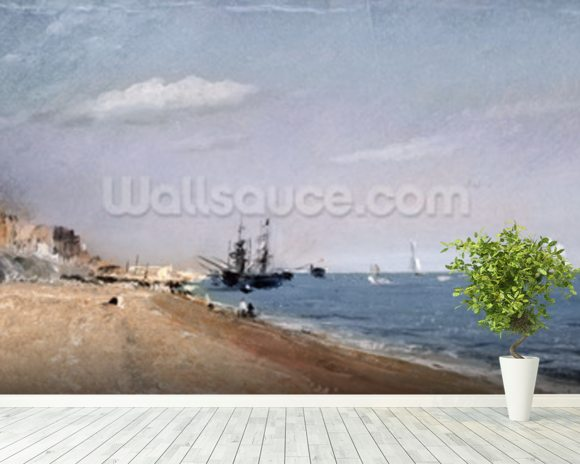Brighton Beach with colliers, 1824 (oil on paper) wallpaper mural room setting