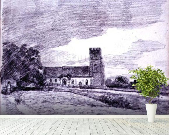 Feering Church, 1814 (drawing) 99;landscape; building; sky; cloud; tree; countryside; mural wallpaper room setting