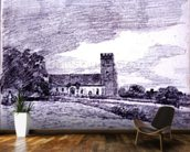Feering Church, 1814 (drawing) 99;landscape; building; sky; cloud; tree; countryside; mural wallpaper kitchen preview