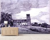 Feering Church, 1814 (drawing) 99;landscape; building; sky; cloud; tree; countryside; mural wallpaper living room preview