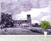 Feering Church, 1814 (drawing) 99;landscape; building; sky; cloud; tree; countryside; mural wallpaper in-room view