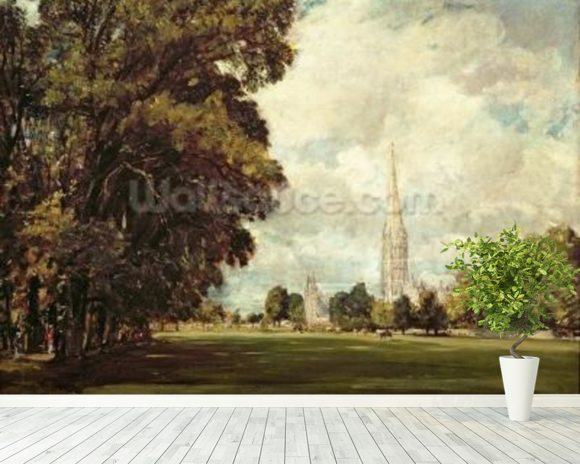 Salisbury Cathedral from Lower Marsh Close, 1820 (oil on canvas) mural wallpaper room setting