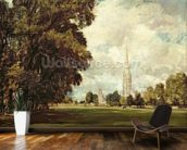 Salisbury Cathedral from Lower Marsh Close, 1820 (oil on canvas) mural wallpaper kitchen preview