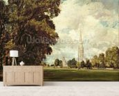 Salisbury Cathedral from Lower Marsh Close, 1820 (oil on canvas) mural wallpaper living room preview