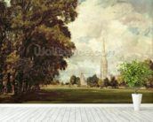 Salisbury Cathedral from Lower Marsh Close, 1820 (oil on canvas) mural wallpaper in-room view