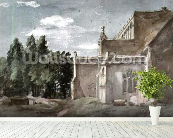 East Bergholt Church: view from the East (watercolour) wallpaper mural room setting