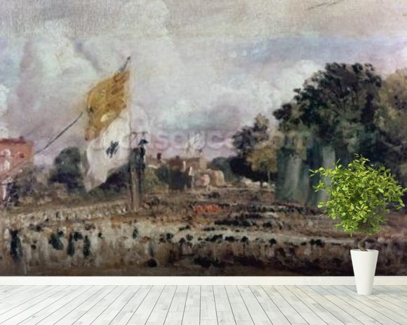 Celebration of the General Peace of 1814 in East Bergholt, 1814 (oil on canvas) mural wallpaper room setting
