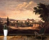 Figures with a Donkey, Corfu in the Distance wall mural kitchen preview