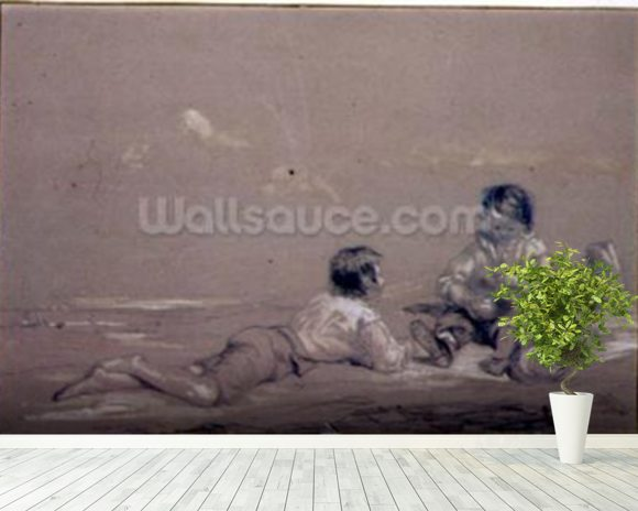 The Young Boat-builders wallpaper mural room setting