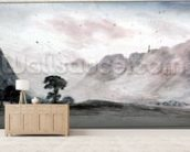 View in Borrowdale (watercolour) mural wallpaper living room preview