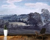 Landscape with Buildings in the distance (watercolour) mural wallpaper kitchen preview