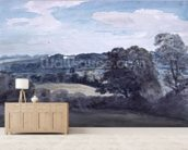 Landscape with Buildings in the distance (watercolour) mural wallpaper living room preview