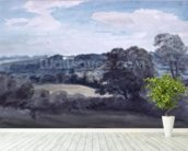 Landscape with Buildings in the distance (watercolour) mural wallpaper in-room view