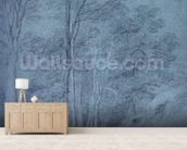 Study of ash and other trees (pencil on paper, heightened with white chalk) wall mural living room preview