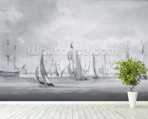 Shipping in the Thames (graphite on paper) wallpaper mural room setting