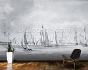 Shipping in the Thames (graphite on paper) wallpaper mural kitchen preview