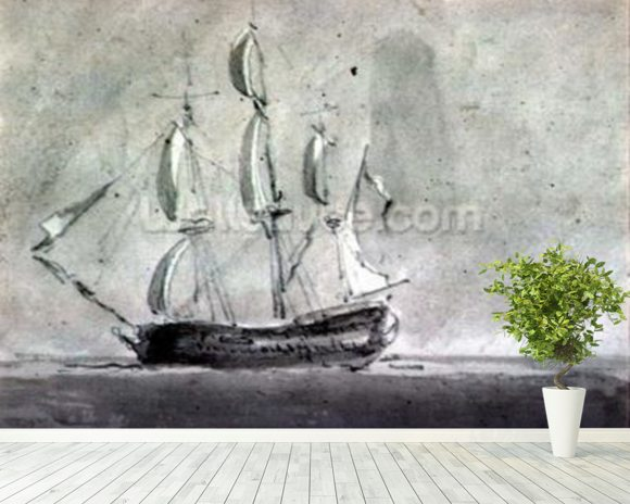 A ship under Sail mural wallpaper room setting