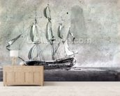 A ship under Sail mural wallpaper living room preview