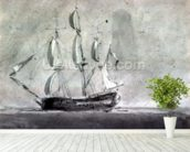 A ship under Sail mural wallpaper in-room view