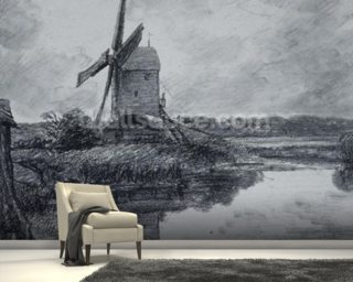 A mill on the banks of the River Stour (charcoal on paper) wall mural