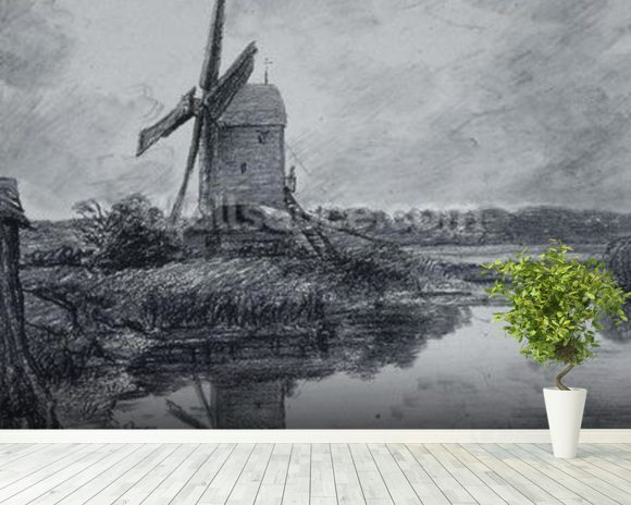 A mill on the banks of the River Stour (charcoal on paper) wall mural room setting