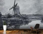 A mill on the banks of the River Stour (charcoal on paper) wall mural kitchen preview