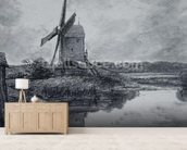 A mill on the banks of the River Stour (charcoal on paper) wall mural living room preview