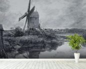 A mill on the banks of the River Stour (charcoal on paper) wall mural in-room view