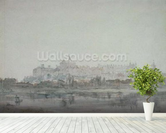 Windsor Castle from the River, 19th century (drawing) wallpaper mural room setting